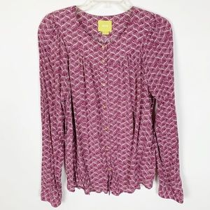 Anthropologie Maeve Long Sleeve Button Up Top
